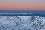 Twilight wedge over Mount of the Holy Cross (in the distance) and Traver, McNamee and Clinton peaks from the summit of 14,286-foot Mt. Lincoln at sunrise, Mosquito Range, Colorado