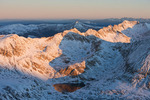 Wheeler Lake and Wheeler Mountain at sunrise from the summit of 14,286-foot Mt. Lincoln, Mosquito Range, Colorado