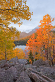A shaft of sunrise light highlights aspen trees above Bear Lake in late September, Rocky Mountain National Park, Colorado