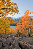 Longs Peak, Glacier Gorge and Bear Lake at sunrise in late September, Rocky Mountain National Park, Colorado
