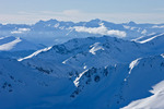 Snowmass Mountain, Capitol Peak and Mt. Daly from the summit of 14,433-foot Mt. Elbert in January, San Isabel National Forest, Colorado
