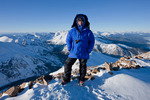 Glenn Randall in full winter regalia on the summit of 14,433-foot Mt. Elbert, San Isabel National Forest, Colorado, January 29, 2010