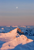 Moonset over Wetterhorn Peak from the summit of Uncompahgre Peak at sunrise in early March, Uncompahgre Wilderness, CO