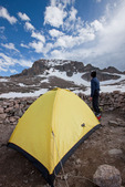 Glenn Randall in camp at the Boulderfield on Longs Peak, Rocky Mountain National Park, Colorado