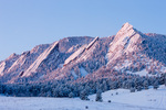 The Flatirons at sunrise in winter, near Boulder, Colorado