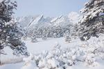 The Flatirons in winter, near Boulder, Colorado