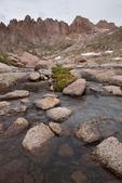 Needle Ridge, Sunlight Peak, Sunlight Spire and stream just below Twin Lakes, Weminuche Wilderness, Colorado
