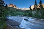 Peak 13,472, Jupiter Mountain and cascade in Chicago Basin, Weminuche Wilderness, Colorado