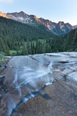 Aztec Mountain and cascade in Chicago Basin at sunset, Weminuche Wilderness, Colorado