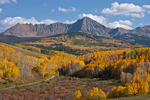13,123-foot shoulder of Wilson Peak and Forest Service Road 618 in early October, Uncompahgre National Forest, Colorado