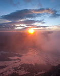 Misty sunrise from the summit of Snowmass Mountain, Maroon Bells-Snowmass Wilderness, Colorado