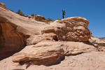 Audrey Randall descending into Range Canyon, Ernies Country, Maze District, Canyonlands National Park, Utah