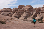 Audrey Randall hiking in Tibbett Canyon, The Fins, Maze District, Canyonlands National Park, Utah