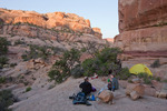 Glenn Randall and his daughter Audrey Randall in camp in Ernies Country, Maze District, Canyonlands National Park, Utah