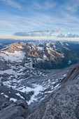 Glacier Gorge and McHenrys Peak seen from the summit of Longs Peak, Rocky Mountain National Park, Colorado