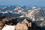 Looking south into the Indian Peaks Wilderness from the summit of Longs Peak, Rocky Mountain National Park, Colorado