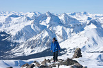 Glenn Randall on the summit of 14,196-foot Mt. Yale with Ice Mountain behind, Collegiate Peaks Wilderness, Colorado