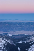 Twilight wedge, the upper Arkansas valley and South Park from the summit of 14,196-foot Mt. Yale at sunset, Collegiate Peaks Wilderness, Colorado