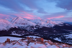 Quandary Peak and the Tenmile Range at sunrise from Hoosier Ridge, a proposed wilderness area, near Breckenridge, Colorado
