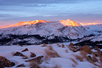 Mt. Lincoln and Mt. Bross at sunrise from Hoosier Ridge, a proposed wilderness area, near Breckenridge, Colorado