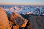 Looking northwest toward Missouri Mountain from the summit of 14,414-foot Mt. Harvard at sunrise, Collegiate Peaks Wilderness, Colorado