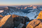 Looking south toward Mt. Princeton and Mt. Yale from the summit of 14,414-foot Mt. Harvard at sunrise, Collegiate Peaks Wilderness, Colorado