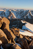 Mount Belford and Mount Oxford from the summit of 14,414-foot Mt. Harvard at sunrise, Collegiate Peaks Wilderness, Colorado