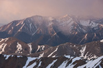 Stormy sunrise over Mt. Princeton from the summit of 14,071-foot Mt. Columbia, Collegiate Peaks Wilderness, Colorado