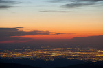 Denver from the summit of 14,258-foot Mt. Evans just before sunrise, Mt. Evans Wilderness, Arapaho National Forest, Colorado