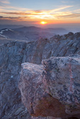 Looking east towards Denver and the plains from the summit of 14,258-foot Mt. Evans at sunrise, Mt. Evans Wilderness, Arapaho National Forest, Colorado