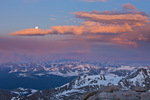Moonset at sunrise from the summit of 14,258-foot Mt. Evans, Mt. Evans Wilderness, Arapaho National Forest, Colorado