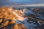 Looking northwest towards Grays and Torreys peaks from the summit of 14,258-foot Mt. Evans, Mt. Evans Wilderness, Arapaho National Forest, Colorado