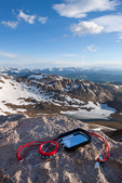 Brunton mirror-sight compass on the summit of 14,258-foot Mt. Evans, Mt. Evans Wilderness, Arapaho National Forest, Colorado