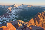 Snowmass Mountain and Capitol Peak at sunrise from the summit of 14,014-foot North Maroon Peak, Maroon Bells-Snowmass Wilderness, Colorado
