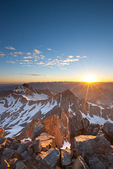 Wilson Peak and Gladstone Peak at sunrise from the summit of 14,246-foot Mt. Wilson, San Miguel Mountains, Lizard Head Wilderness, Colorado