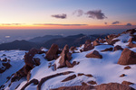 Looking south from the summit of 14,110-foot Pikes Peak at sunrise, near Colorado Springs, Colorado