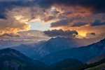 Stormy sunrise from Black Face, Lizard Head Wilderness, San Juan Mountains, Colorado