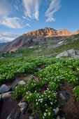 Vermilion Peak from basin below Lake Hope, San Juan Mountains, Colorado