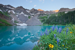 Dallas Peak, Blue Lake and lupine, Mount Sneffels Wilderness, San Juan Mountains, Colorado