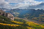 Uncompahgre and Wetterhorn Peaks from overlook along Alpine Trail, Uncompahgre Wilderness, Colorado