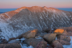Mt. Evans at sunset from the summit of 14,060-foot Mt. Bierstadt, Mount Evans Wilderness, Colorado