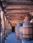 Storage barrels at Bent's Old Fort National Historic Site, near La Junta, Colorado