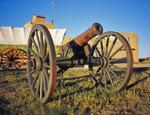 Cannon, wagon, and Bent's Old Fort National Historic Site, near La Junta, Colorado