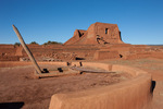 Kiva entrance, pueblo and mission at Pecos National Historical Park, near Santa Fe, New Mexico