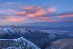 Mt. Princeton and the valley of the Arkansas River at sunset from the summit of 14,269-foot Mt. Antero, San Isabel National Forest, Colorado