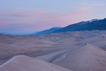 Sand dunes and the Sangre de Cristo Range at sunrise, Great Sand Dunes National Park, Colorado