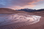 Mt. Herrad and Medano Creek at sunrise, Great Sand Dunes National Park, Colorado