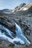 Kit Carson Peak and the top of the waterfall above Willow Lake, Sangre de Cristo Wilderness, Colorado