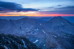 Ute Peak and Mt. Lindsey from the summit of 14,345-foot Blanca Peak at sunrise, Sangre de Cristo Wilderness, Colorado