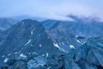 Ellingwood Peak from the summit of 14,345-foot Blanca Peak during a misty sunrise, Sangre de Cristo Wilderness, Colorado